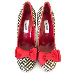 Moschino ponyhair Pumps houndstooth Print Size 37